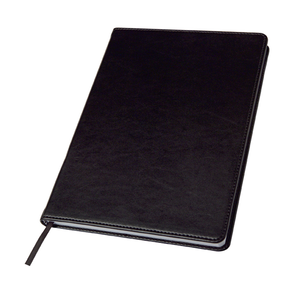 Notebook in a PU case in black