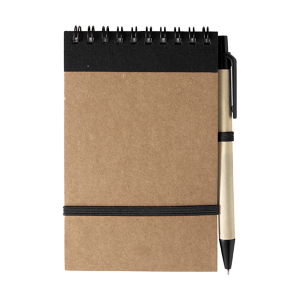 Wire bound notebook in black