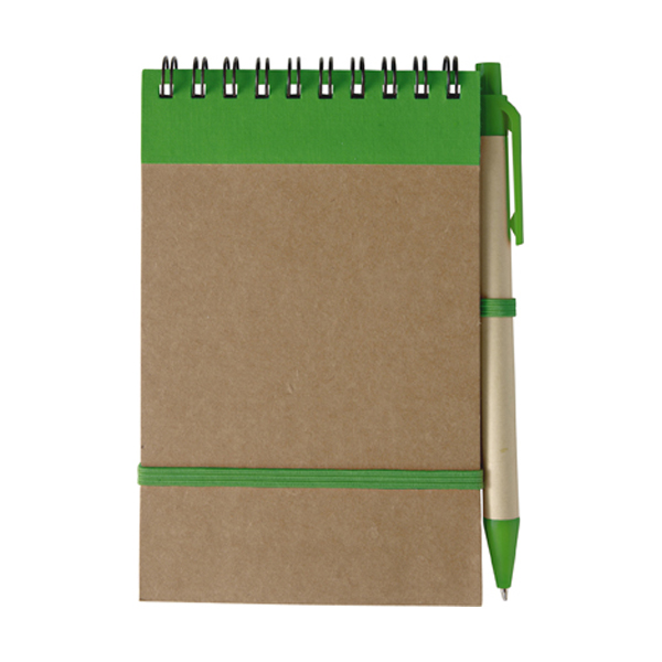 Wire bound notebook in green