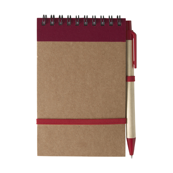 Wire bound notebook in red