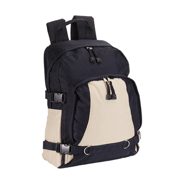 Backpack with front pocket in blue