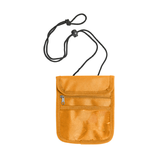 Travel wallet and neck cord in orange