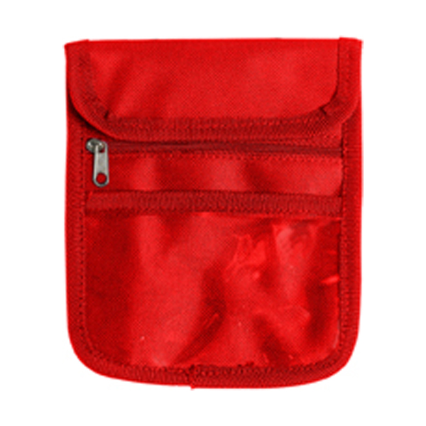 Travel wallet and neck cord in red