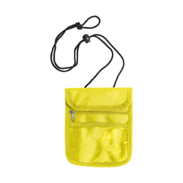 Travel wallet and neck cord in yellow