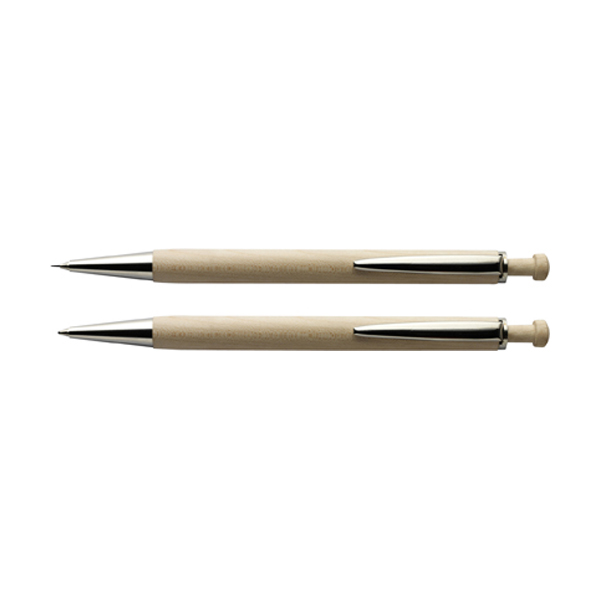 Wooden pen set in brown