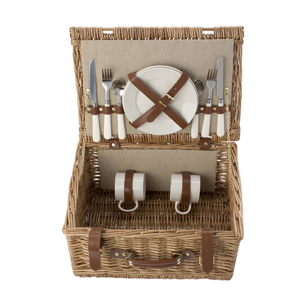 Picnic basket for 2 people. in brown