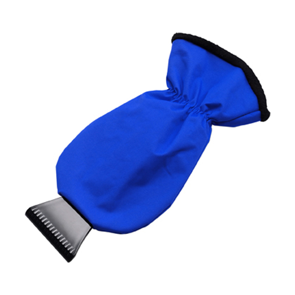Ice scraper and polyester glove. in cobalt-blue