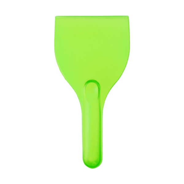 Curved plastic ice scraper. in light-green