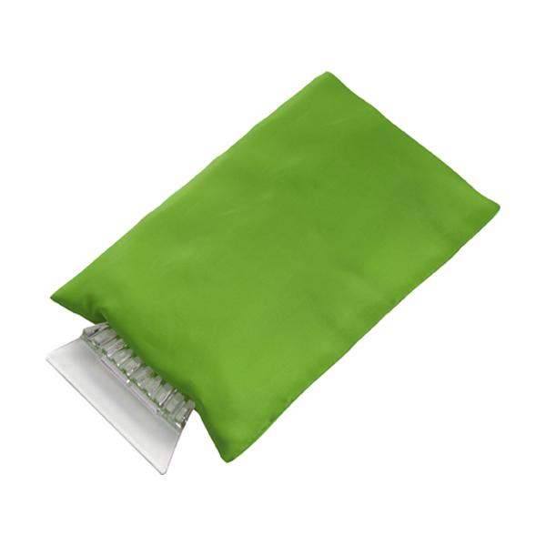 Ice scraper in fleece glove. in light-green