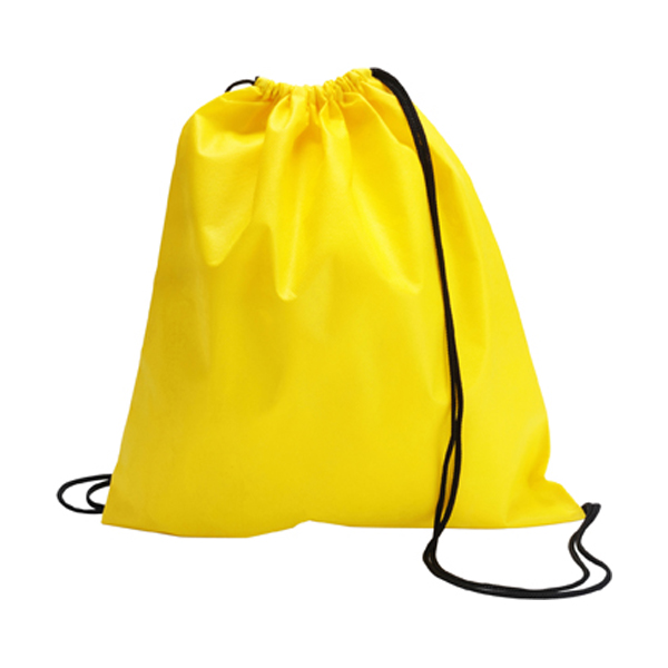Drawstring bag, non woven  in yellow