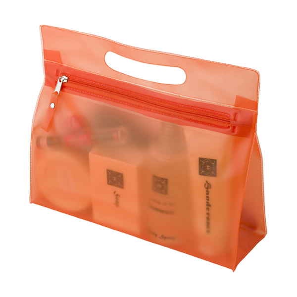 Frosted toilet bag. in orange