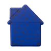 House shaped mint card in cobalt-blue