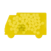 Truck shaped mint card in yellow
