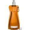 Foldable plastic water bottle in orange