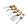 Set of five cheese knives in brown