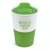 Rubber Base Plastic Take Out Mugs in green