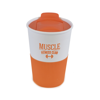 Rubber Base Plastic Take Out Mugs in orange