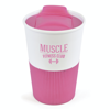 Rubber Base Plastic Take Out Mugs in pink