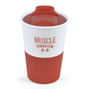 Rubber Base Plastic Take Out Mugs in red
