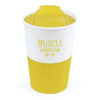 Rubber Base Plastic Take Out Mugs in yellow