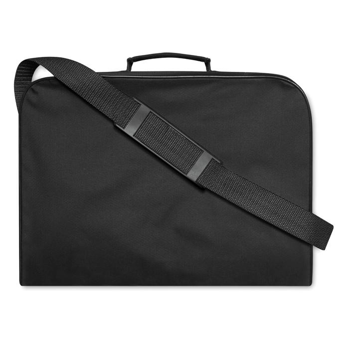 Document Bag W/ Shoulder Strap in black