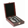Classic wine set in wooden box in silver