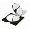 Make-up mirror in matt-silver
