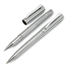 Ball pen and roller pen in shiny-silver