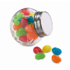 Glass jar with jelly beans      in multicolour
