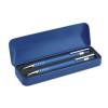 Ball pen set in metal box in blue