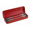 Ball pen set in metal box in red