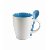 Mug with spoon in blue