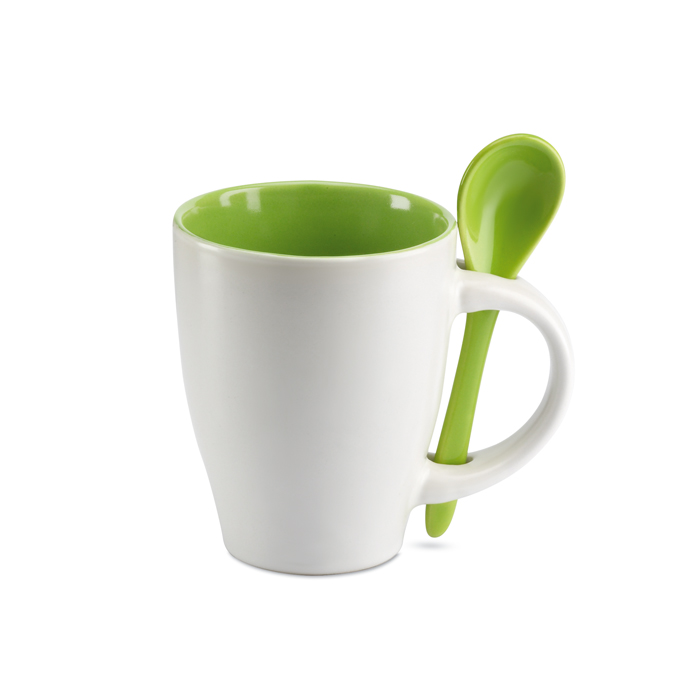Mug with spoon in green