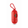 Container for pet bag w/ hook in red