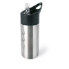 Metal drinking bottle in matt-silver