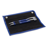 Pen and pencil set in PU pouch in blue