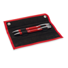 Pen and pencil set in PU pouch in red