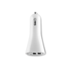 USB 2X car charger in white