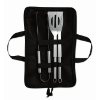 3 BBQ tools in pouch            in black