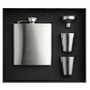Slim hip flask w 2 cups set in matt-silver
