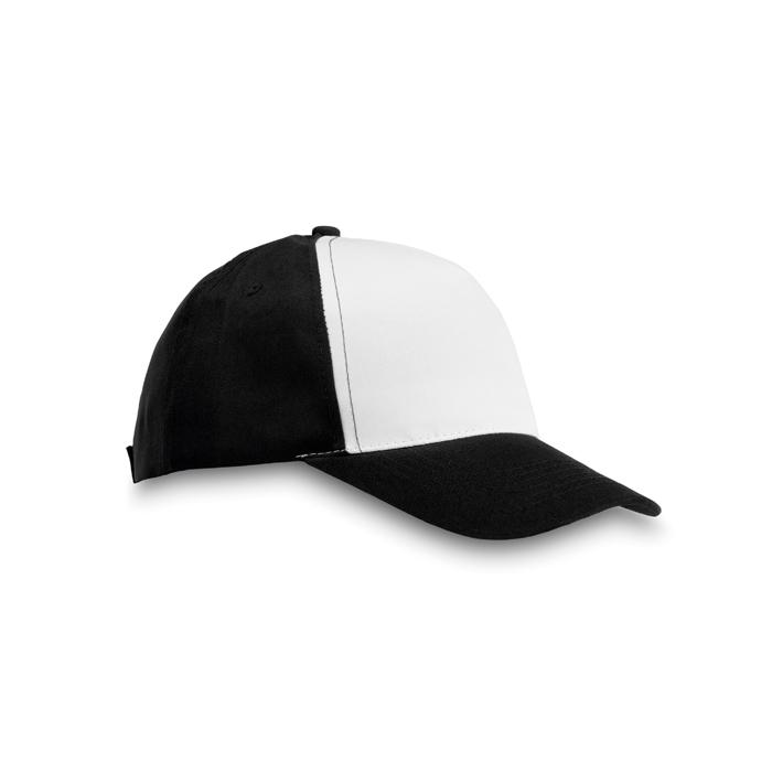 Polyester 5 Panel Baseball Cap in black