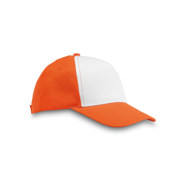 Polyester 5 Panel Baseball Cap in orange