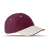 6 Panels Baseball Cap Brushed in burgundy