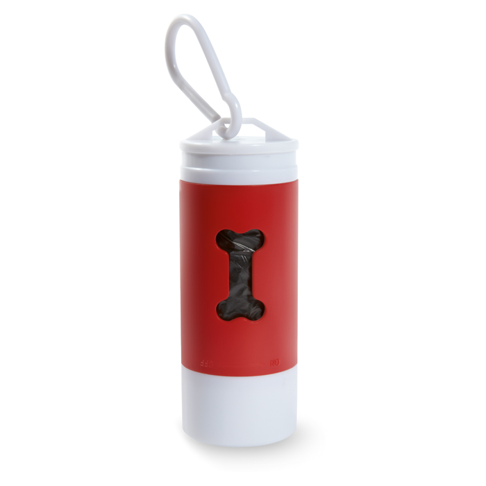 Led Torch With Pet Waste Bag in red