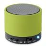 Round Bluetooth speaker in lime