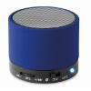 Round Bluetooth speaker in royal-blue