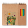 Colouring set with notepad in beige