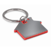 House shape plastic keyring     in red