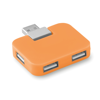 4 port USB hub in orange