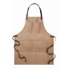 Apron in leather                in taupe
